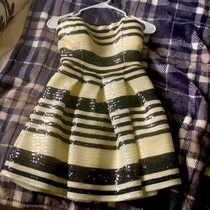 Bebe white and black stripe dress